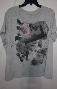 Grey Pink Rose Butterfly T-shirt Sz 2X Plus